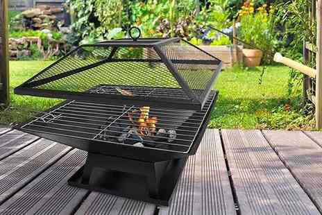 Direct2public - Square fire pit with BBQ grill - Save 68%