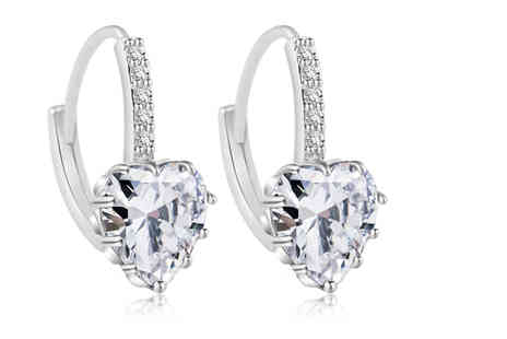 Your Ideal Gift - Pair of clear heart cut lab-created sapphire earrings - Save 85%