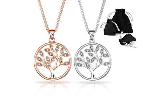 Silver Supermarket - Philip Jones tree of life necklace made with with crystals from Swarovski - Save 56%
