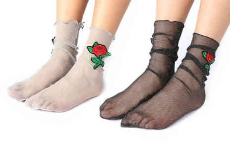 hey4beauty - Pair of glitter mesh ankle socks - Save 85%