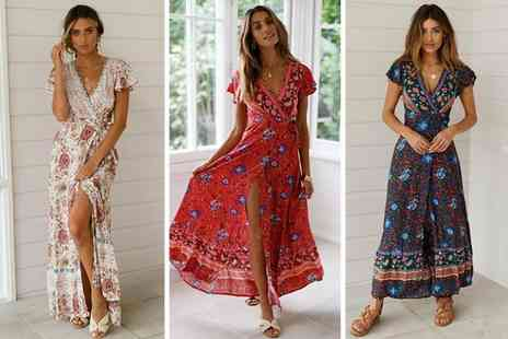 Blu Fish - Floral cap sleeve maxi dress choose from five colours - Save 60%