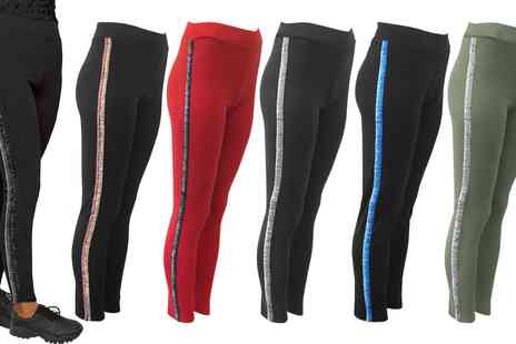 Groupon Goods Global GmbH - Womens Leggings with Contrast Glitter Stripes - Save 0%