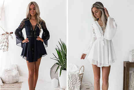 Litnfleek - Bohemian lace mini dress choose from two colours - Save 53%