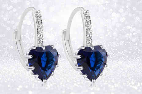 Your Ideal Gift - Pair of rhodium plated lab created sapphire heart earrings - Save 0%