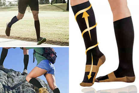 Wow What Who - Pair of knee high compression running socks - Save 80%
