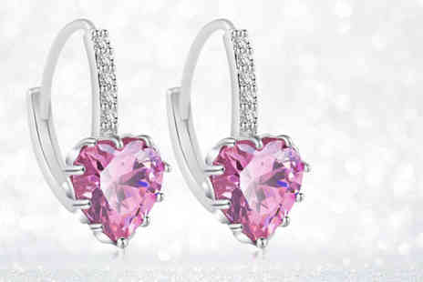 Your Ideal Gift - Pink heart cut lab  created sapphire gem and rhodium plated earrings - Save 85%