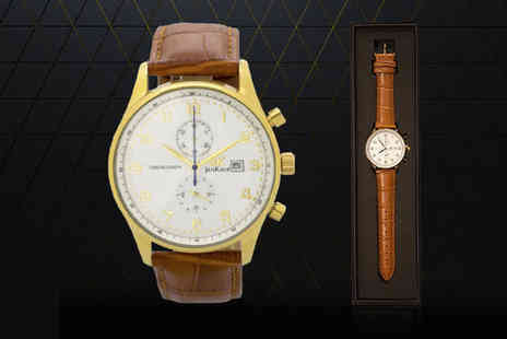Jan Kauf - Mens JK1037 brown and gold leather watch - Save 0%