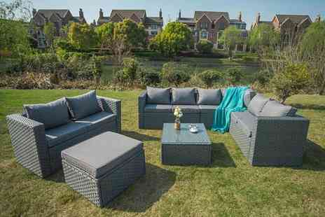 Dreams Outdoors - Eight seater durable polyrattan garden furniture set - Save 63%