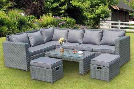 Dreams Outdoors - Eight seater Barcelona rattan garden furniture set choose between grey and sand while - Save 60%