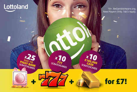 Lottoland - 25 PiggyBank scratchcards, ten 777 scratchcards and ten 100k scratchcards - Save 67%