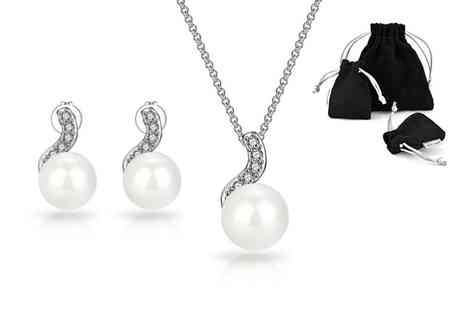 Philip Jones - Pearl inspired spiral earrings and necklace set made with crystals from Swarovski - Save 59%