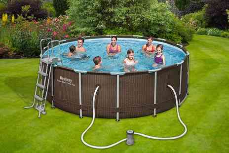 Direct2Public  - 14ft Bestway rattan outdoor swimming pool - Save 61%