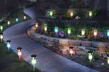 Groupon Goods Global GmbH - 10, 20 or 30 White or Multicoloured Stainless Steel Solar Led Garden Lights - Save 0%