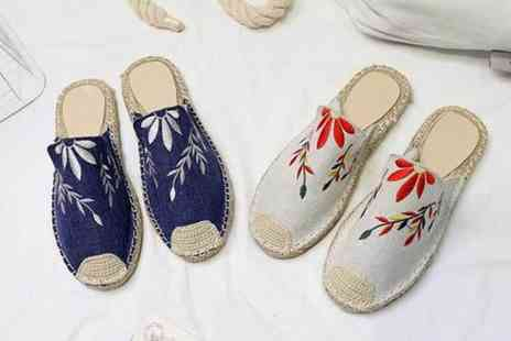 My Brand Logic - Pair of slip on floral weaved espadrilles - Save 70%