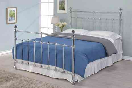 Majestic Furnishings - Silver metal Victorian style bed frame or bed frame and mattress choose from two sizes - Save 0%