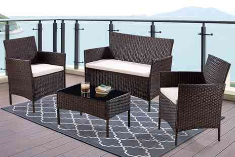Groupon Goods Global GmbH - Four Piece Rattan Effect Garden Furniture Set with Optional Cover - Save 0%