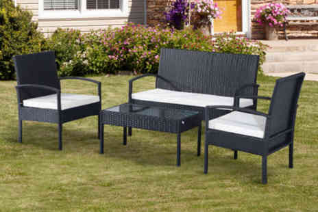Mhstar - Outsunny four-piece rattan sofa set in black - Save 72%