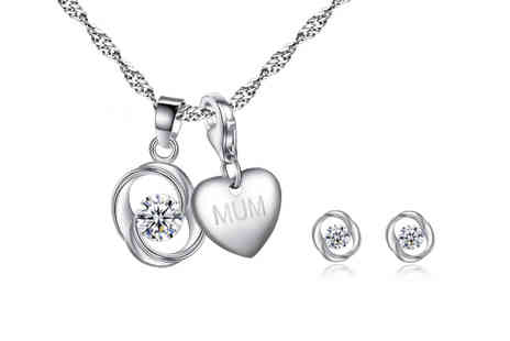 Your Ideal Gift - Personalised charm necklace and swirl earrings choose from 16 charms - Save 0%