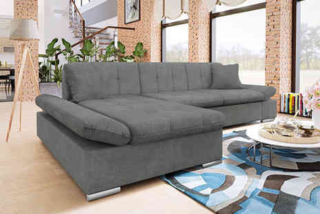 Honey Pot Furniture - Malvi fabric corner sofa bed choose from three colours - Save 0%