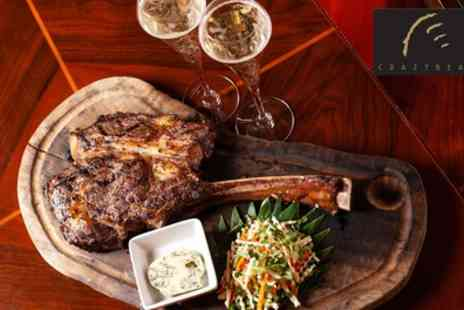 The Crazy Bear Group - 1kg Tomahawk or Tomapork steak and Premium Champagne For Two - Save 51%