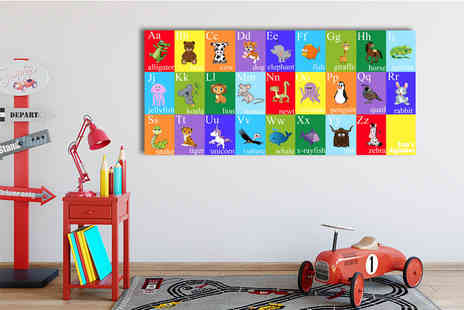 Your Perfect Canvas - 22 Inch x 10 Inch kids animal alphabet canvas, 34 Inch x 16 Inch canvas - Save 80%