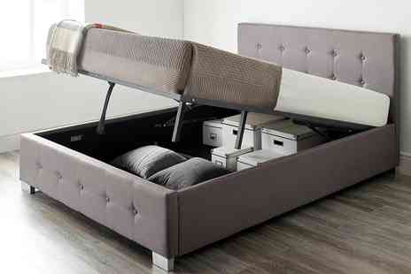 Groupon Goods Global GmbH - Fabric Ottoman Storage Bed with Optional Bonnell or Pocket Mattress - Save 0%