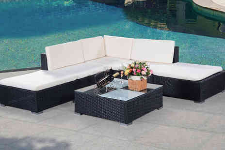 FDS - Six piece rattan outdoor garden furniture patio corner set - Save 62%