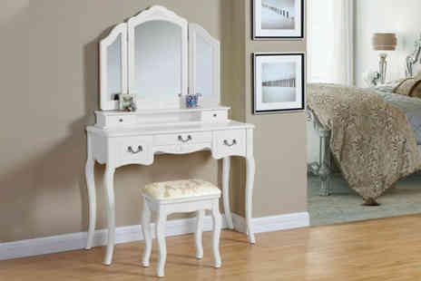 UK Furniture Zone - Five drawer dressing table and matching stool - Save 63%