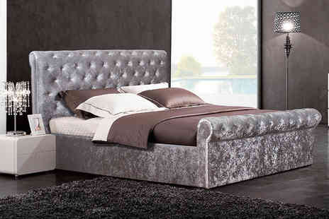 FTA Furnishing - Small double crushed velvet sleigh bed with side lift ottoman storage choose from mattress options - Save 56%