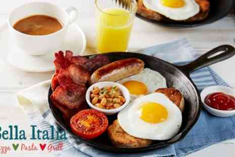Bella Italia - Hot Breakfast with Choice of Drinks for Two - Save 18%