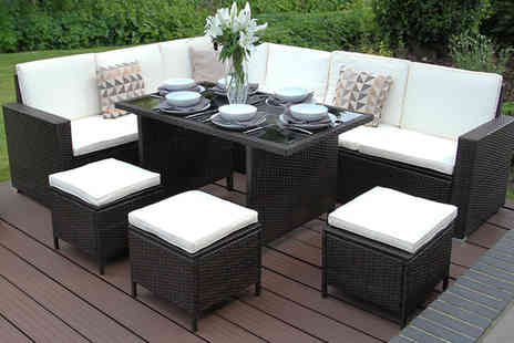 Monster Racking - Nine person garden furniture set with cushions - Save 51%