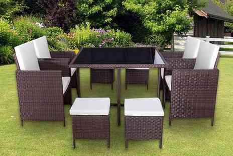 Wowcher - nine piece cube rattan furniture set in black or brown - Save 0%