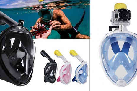 SecretStorz - Snorkel Mask with GoPro Compatible Mount & Optional 1080p Camera Choose from 4 Colours - Save 70%