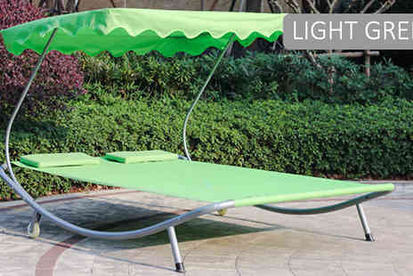 Luxury bed and warehouse - Two Person LuxeLounge Sun Bed With Canopy Choose from Six Colours - Save 76%