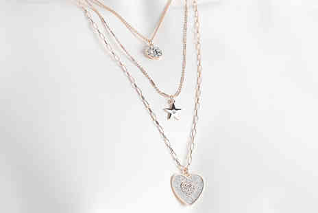 Gemnations - Three row rose gold crystal necklace set - Save 84%