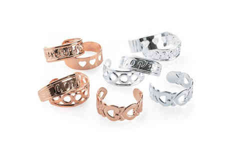 Gemnations - Ten piece rose gold and silver coloured adjustable toe ring set - Save 83%