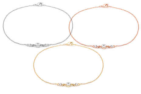 Lily Spencer London - Fine chain crystal anklet choose from three colours - Save 80%
