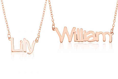 Optima Jewellery - Rose gold plated sterling silver personalised name necklace - Save 73%