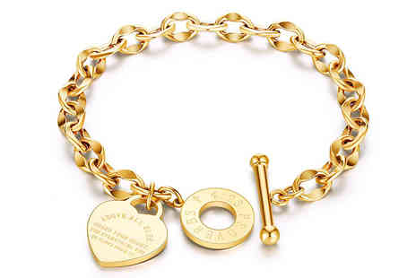 Spezzee - Ladies Heart Chain Bracelet Choose from Three Colours - Save 55%