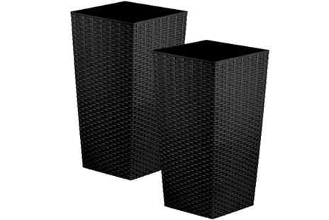 Anything 4 home - Pair of 27L Rattan Planters Choose from 2 Colours - Save 57%