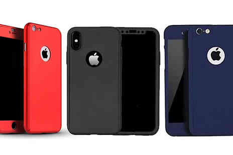 Oooshh - 360 Degree Tempered Glass iPhone Cases Choose from Three Colours And 12 Options - Save 83%