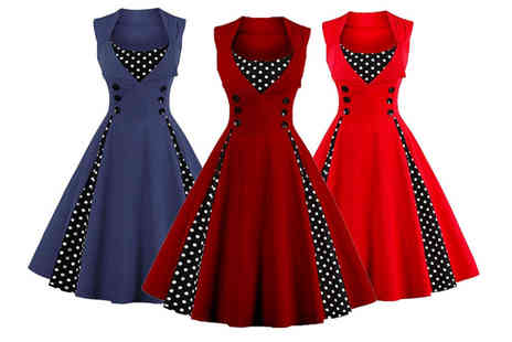 Blu Fish - Retro polka dot swing dress choose from six colours - Save 68%
