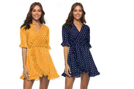 hey4beauty - Polka dot wrap dress choose from four colours - Save 73%