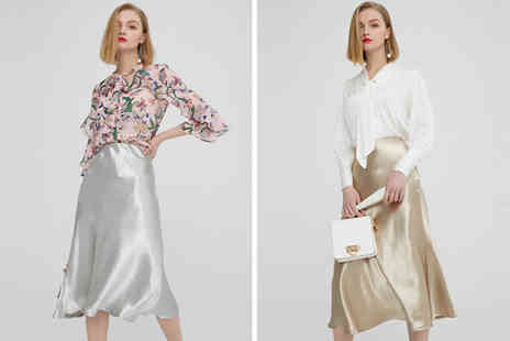 hey4beauty - Sateen midi skirt choose from two colours - Save 77%