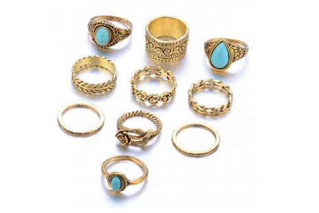 hey4beauty - 10 assorted rings with turquoise details choose from two colours - Save 90%