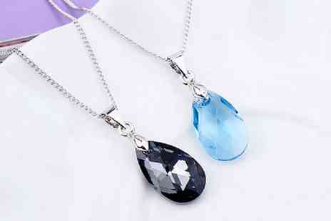 Backtogoo - Crystal water droplet pendant necklace choose from four colours - Save 82%