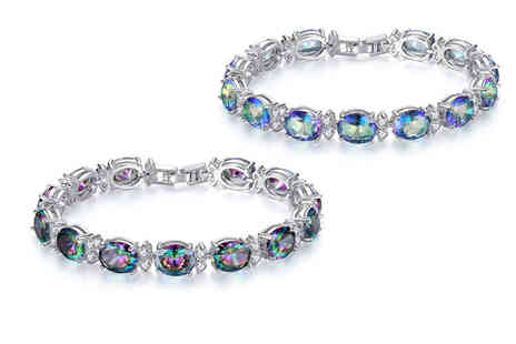 Your Ideal Gift - Rhodium plated bracelet with crystals and lab created rainbow topaz gemstones choose from amethyst or ocean colours - Save 86%