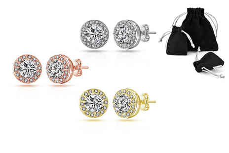 Philip Jones - Pair of halo earrings made with crystals from Swarovski choose from six designs - Save 56%