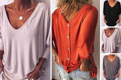 MBLogic - V Neck button down loose fit top choose from four colours - Save 0%