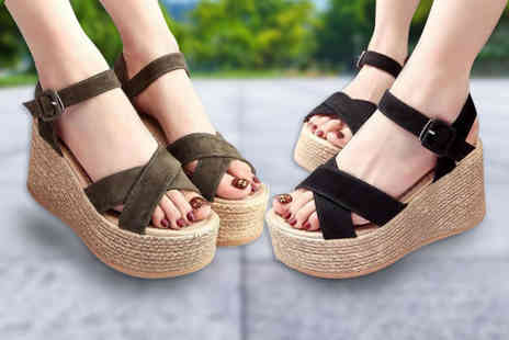 Backtogoo - Pair of criss cross platform espadrille sandals choose from three colours - Save 0%